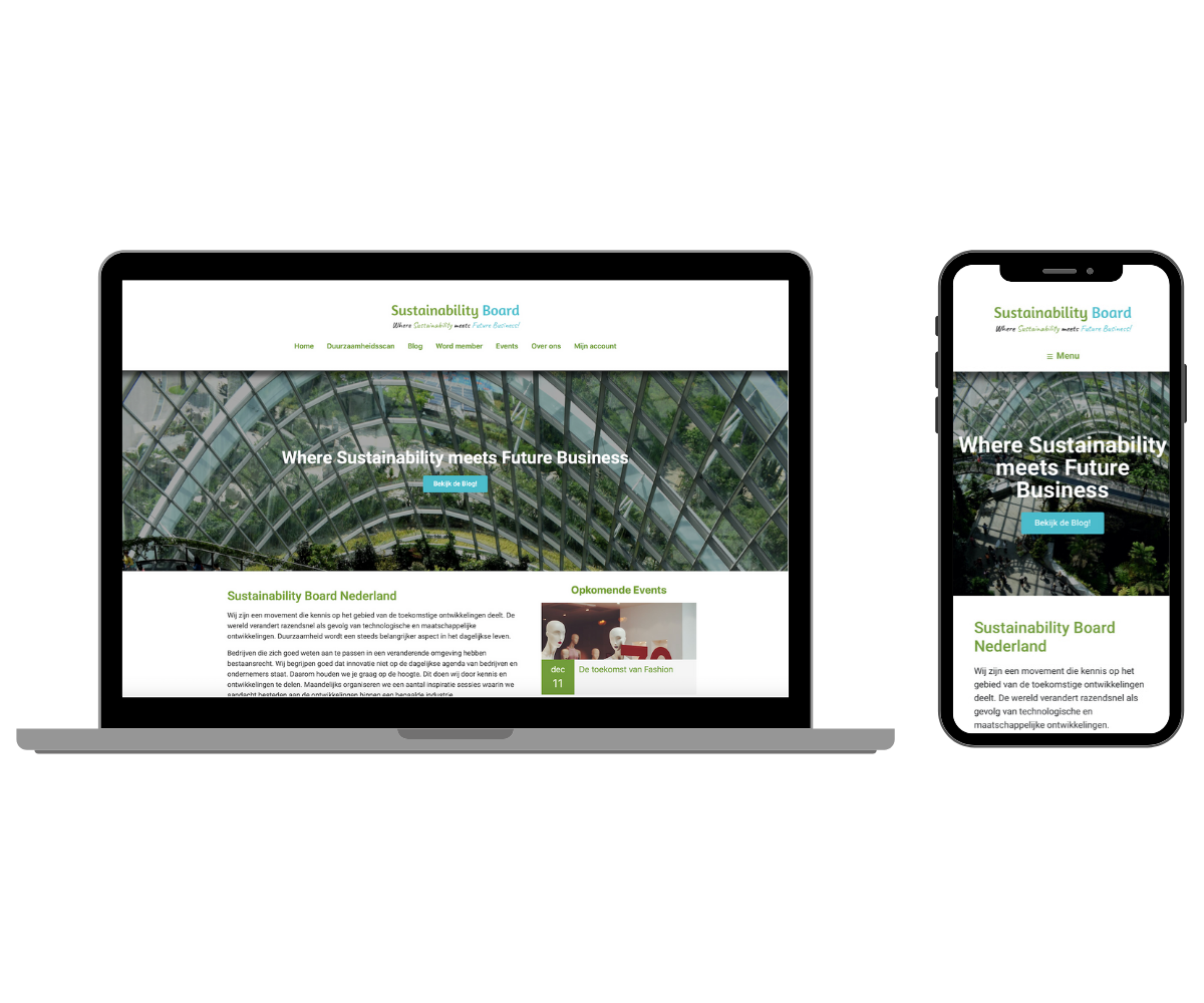 sustainability board responsive website
