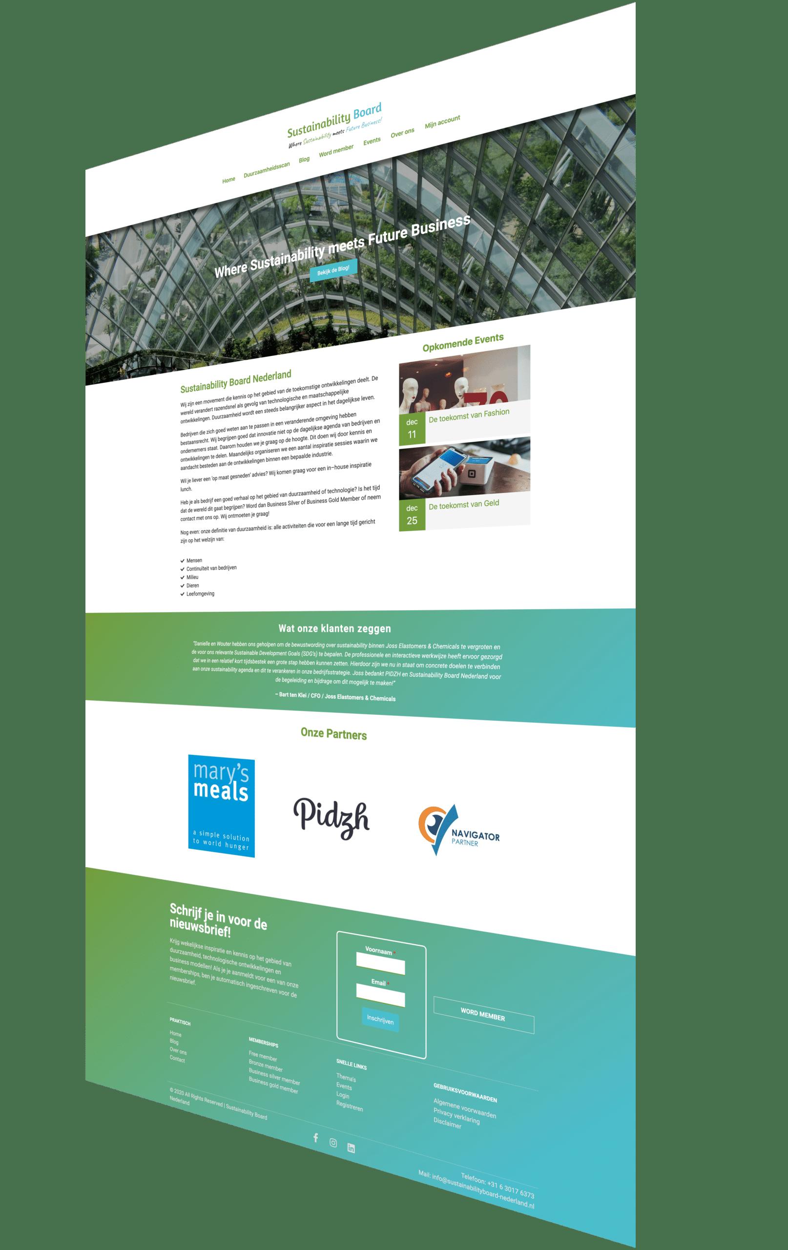 gekantelde sustainability board volledige website
